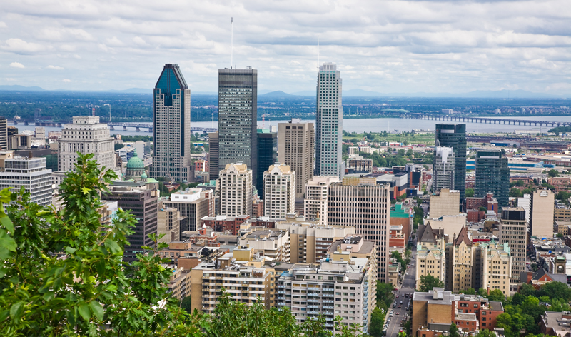view of city from top of mount royal in montreal quebec canada vacation packages cheap flights from montreal