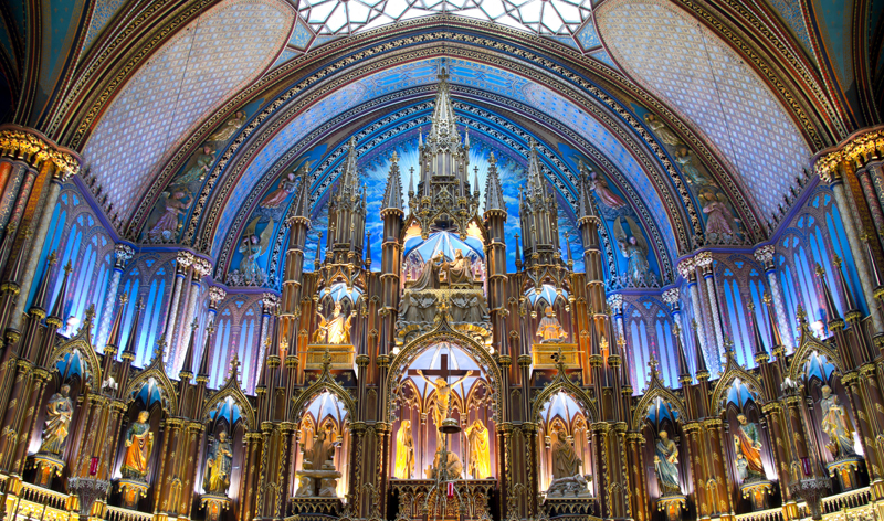 interior view of notre dame basilica in montreal quebec canada vacation packages cheap flights from montreal