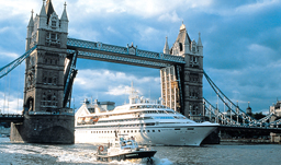 Seabourn Legend under the Tower Bridge in London UK