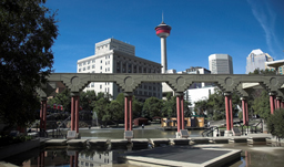 Downtown, CN-Tower, Saddledome and skyscrapers - Calgary, Alberta, Canada