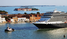 Ship coming into port in Venice, Italy - Mediterranean cruise