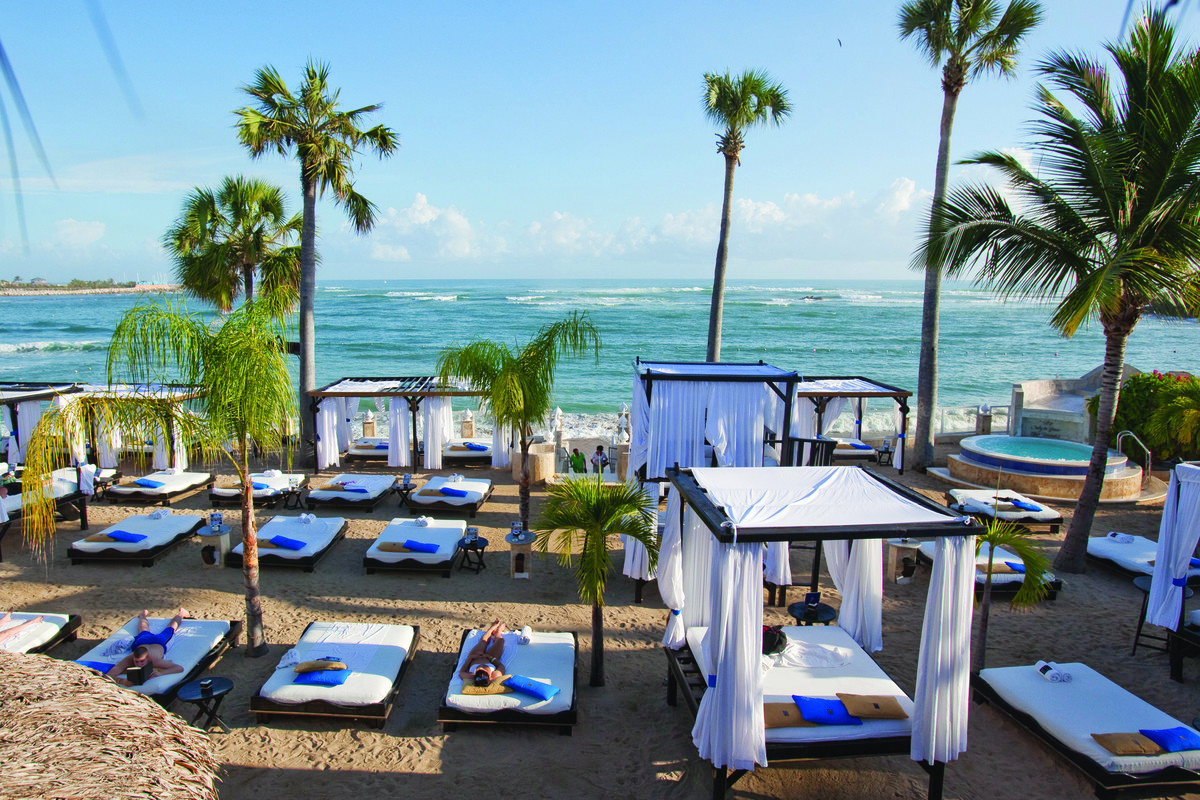 Sunbathe on these comfortable beach beds, and enjoy the view