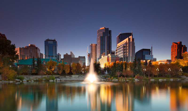 view of downtown from princess island in calgary alberta canada vacation packages