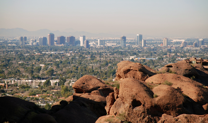 city skyline from camelback mountain phoenix arizona usa vacation packages