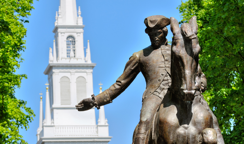 paul revere statue and old north church in boston massachusetts usa vacation packages