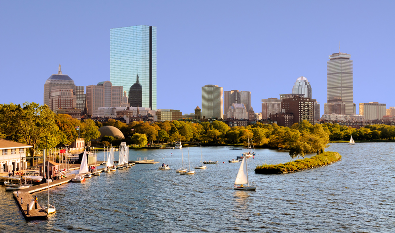 city skyline from cambridge boston massachusetts usa vacation packages