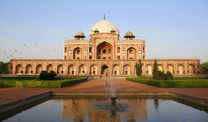 humayun tomb at sunset in Delhi India