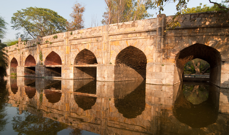 stone bridge at lodi gardens delhi india