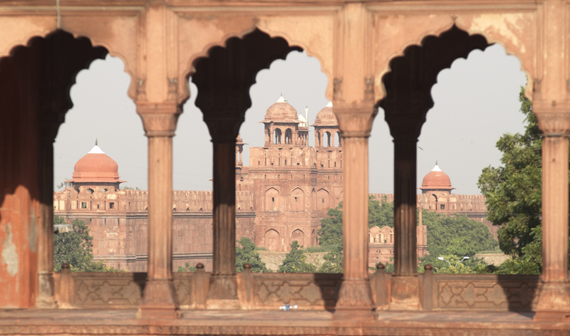 massive walls and entrance to red fort old delhi india