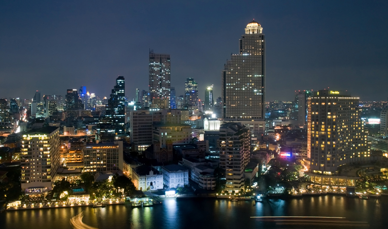 city skyline night bangkok thailand asia