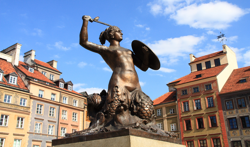 mermaid syrena city symbol warsaw poland europe
