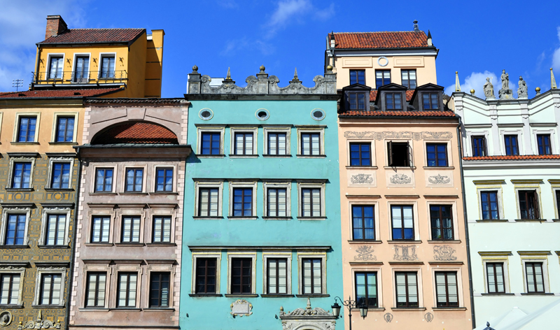 houses in old town warsaw poland europe