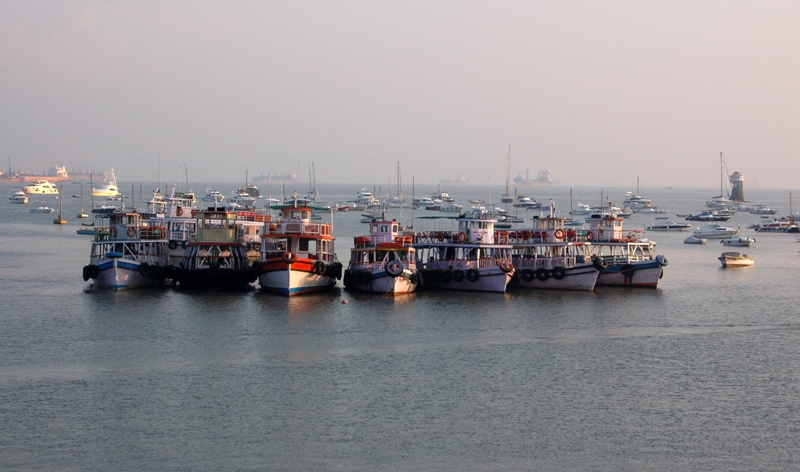boats in bombay harbour colaba district mumbai india