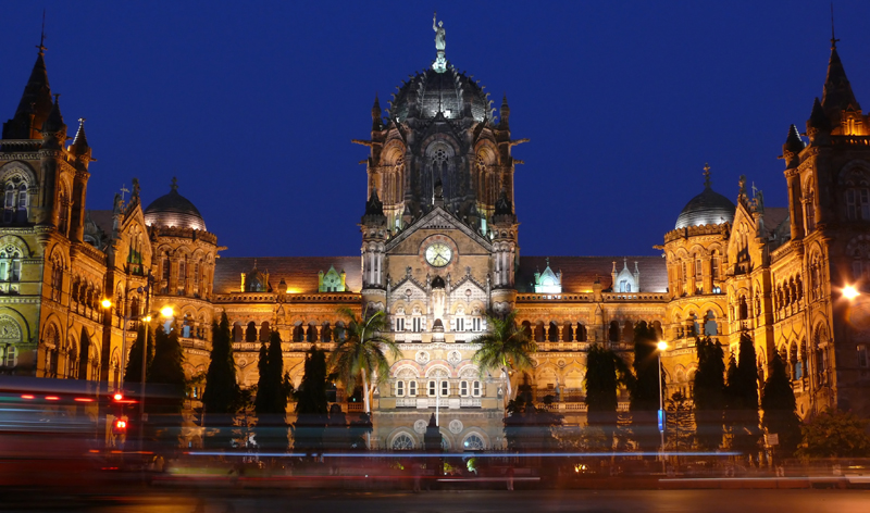 victoria station night mumbai india bombay