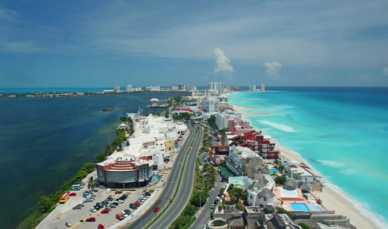 aerial view hotel strip cancun mexico vacation beach beaches mexican vacations