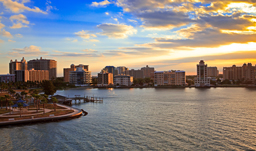 Bay view and city skyline at sunrise - Sarasota, Florida, USA
