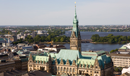 Aerial city view with Rathaus and Elbe River - Hamburg, Germany