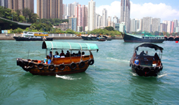 Traditional Chinese boat on Victoria Harbour - Hong Kong