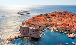 Aerial view of the Viking Sea in Dubrovnik, Croatia